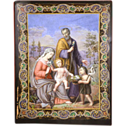 "Magnificent Antique Nineteenth Century Framed Aquarelle ""Sainte Famille"" signed Pietro de Simone"