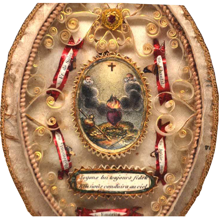Antique Nineteenth Century French Monastery Work Reliquary Sacred Heart