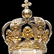 RARE Antique Nineteenth Century Belgian Silver Vermeil Santos Couronne Royale