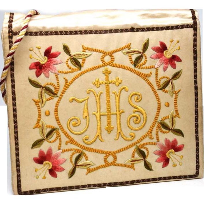Antique Nineteenth Century Napoleon III Era French Religious Embroidered Silk Burse
