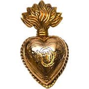 Small Antique Gilded Brass Sacred Heart Ex Voto Reliquary