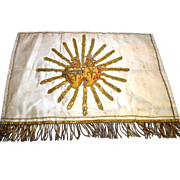 RARE Double Sacred Heart Antique Napoleon III Silk and Gilded Embroidery Alter Banner
