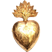 Impressive Nineteenth Century French Extra Large Gilded Brass Ex Voto Reliquary Sacred Heart
