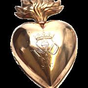 RARE Antique Nineteenth Century French Gilded Brass Ex Voto Sacred Heart