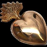 Antique Nineteenth Century Gilded Brass Sacred Heart Reliquary Ex Voto