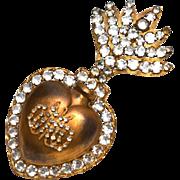 Large Nineteenth Century Flaming Sacred Heart/Coeur de Marie Reliquary Ex Voto