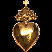 RARE Large Antique Nineteenth Century Gilded Brass Sacred Bleeding Heart Ex Voto