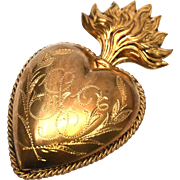 Antique Nineteenth Century French Gilded Brass Sacred Heart - Red Tag Sale Item