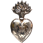 TINY Antique Nineteenth Century French Silver Ex Voto Sacred Heart