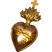 Antique Nineteenth Century Gilded Brass Bleeding Sacred Heart
