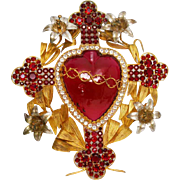 RARE Enormous, Extraordinary Nineteenth Century French Glass Silver Glided Brass Jeweled Sacred Heart Voto