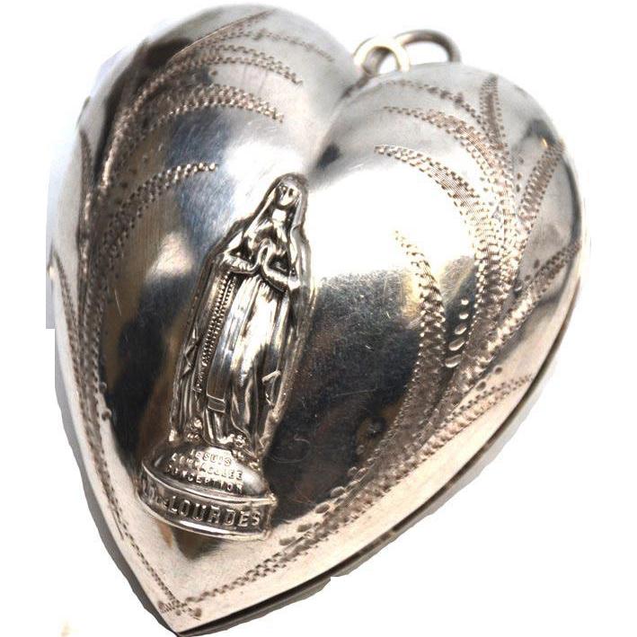 LARGE French Silver Sacred Heart Ex Voto Notre Dame de Lourdes