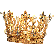 RARE Antique Nineteenth Century French Gilded Bronze Brass Santos Crown signed by Jeweler Meller