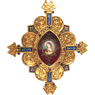 RARE Magnifcent Epoque Napoleon III French Gilded Bronze Reliquary With Garnets and Enamel