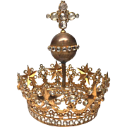 Antique Nineteenth Century Gilded Bronze Santos Royal Crown with Globe and Cross Rising