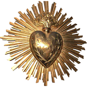 Rare Magnificent French Antique Napoleon III Gilded Bronze Brass Rayonnant Sacred Heart Ex Voto Altar Plaque