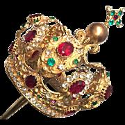Antique Napoleon III Era French Gilded Bronze Santos Crown Royal with Cherubs and Original Support