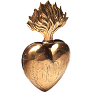 Tiny Antique Nineteenth Century French Gilded Brass Sacred Heart Ex Voto Reliquary