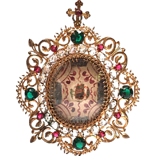 Antique French Nineteenth Century Gilded Bronze Reliquary Frame with Hand Painted Monastery Work Reliquary Medallion