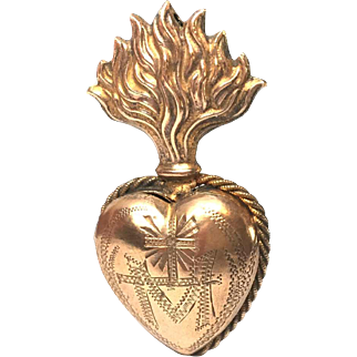 TINY Antique French Nineteenth Century Gilded Brass Sacred Heart Reliquary Ex Voto