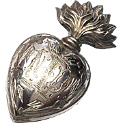 Antique Nineteenth Century French Silver over Brass Sacred Heart Ex Voto Reliquary