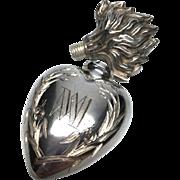 Antique Nineteenth Century French Silver Sacred Heart Ex Voto Flacon