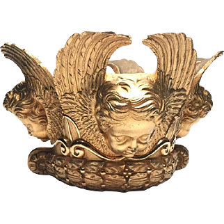 RARE Magnificent Antique French Gilded Cast Bronze Cherubim Corona