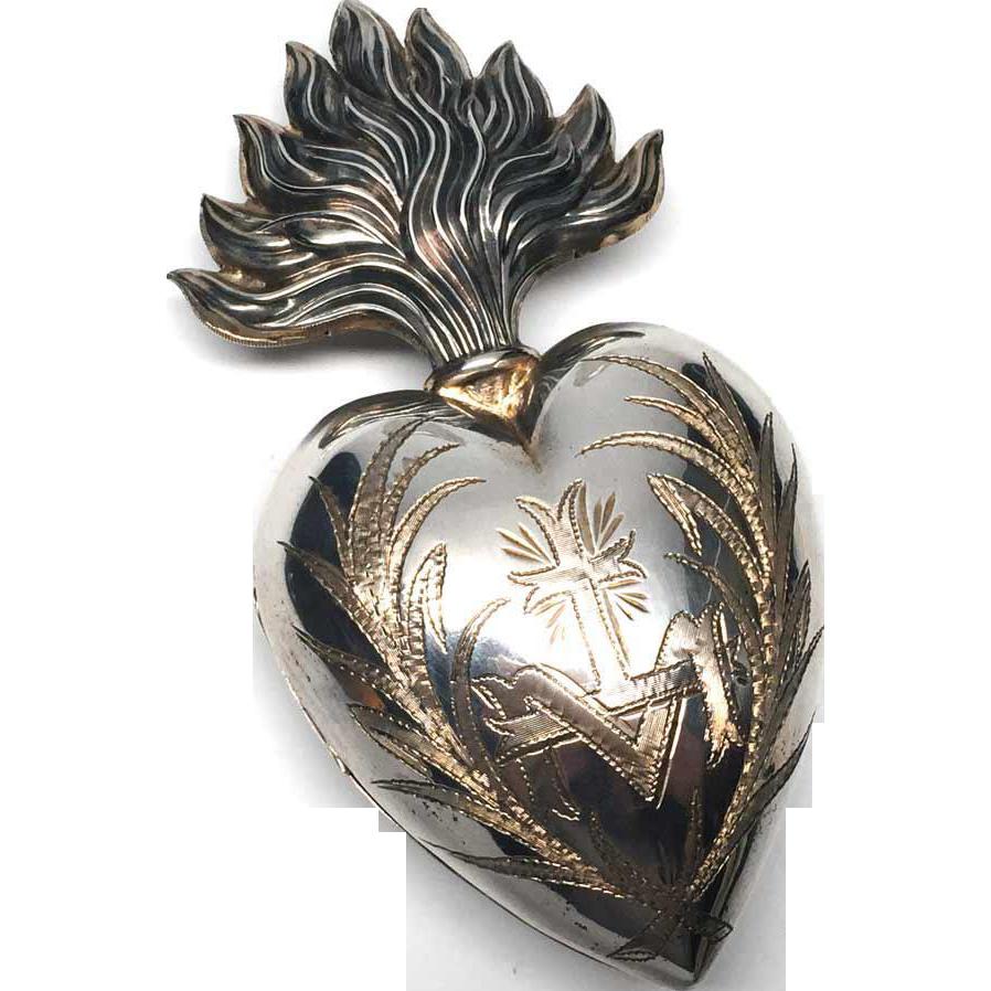 Stunning Vermeil Silver Antique Nineteenth Century French Silver Ex Voto Sacred Heart