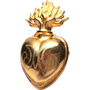 Antique French Gilded Brass Sacred Heart Ex Voto Reliquary