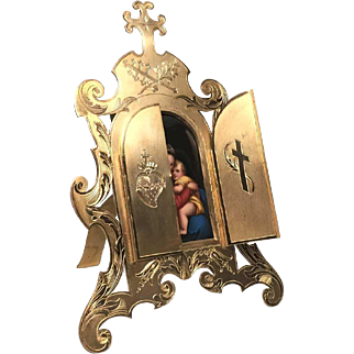 Magnificent Signed Napoleon III Sacred Heart Devotional Frame with Hand Painted Porcelain Medallion