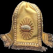 RARE Antique Nineteenth Century Ciborium Veil with Metal Work Embroidery Agnus Dei