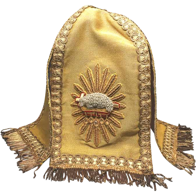 RARE Antique Nineteenth Century Ciborium Veil with Metal Work Embroidery Agnus Dei