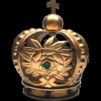 RARE Large Antique Napoleon III Era French Gilded Bronze Gilded Brass Santos Royal Crown