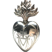 Large Antique Nineteenth Century French Silver Ex Voto Sacred Heart