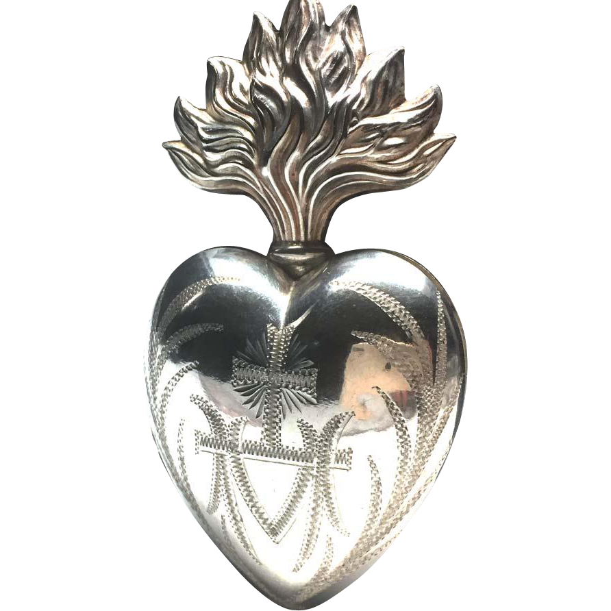 Large Antique Nineteenth Century French Silver Ex Voto Sacred Heart