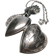 """Monogrammed """"MBC February 14, 1923"""" French Silver Sacred Heart Ex Voto"""