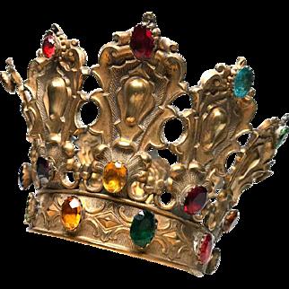 Rare Gilded Bronze Antique Ninteenth Century Madonna Santos Royal Diadem Crown