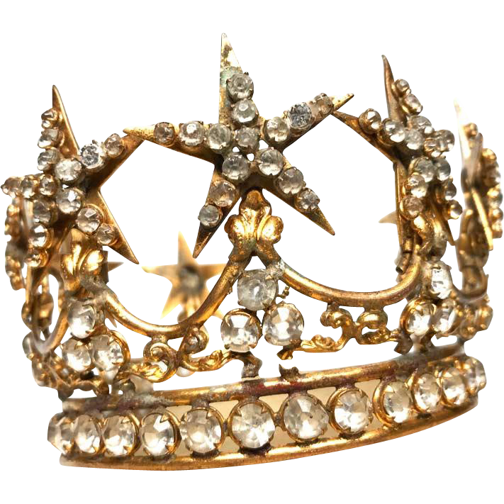 Authentic Antique Gilded Brass Nineteenth Century French Santos Crown