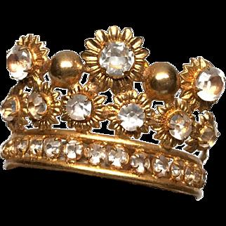 RARE Small Antique Gilded Brass Santos Madonna Tiara