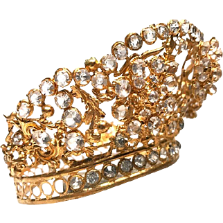 RARE Tremblant Antique Nineteenth Century French Gilded Brass Diadem Santos Crown