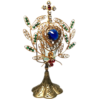 RARE Sacred Heart with Cross Antique Nineteenth Century French Gilded Brass Candleshade Ornament