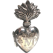 TINY Antique Nineteenth Century French Silver and Vermeil Sacred Heart Ex Voto