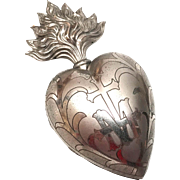 Antique Nineteenth Century French Marriage Silvered Laiton Sacred Heart Ex Voto Reliquary