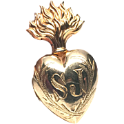 TINY Antique Nineteenth Century Gilded Brass Sacred Heart Ex Voto with Monogram SJ
