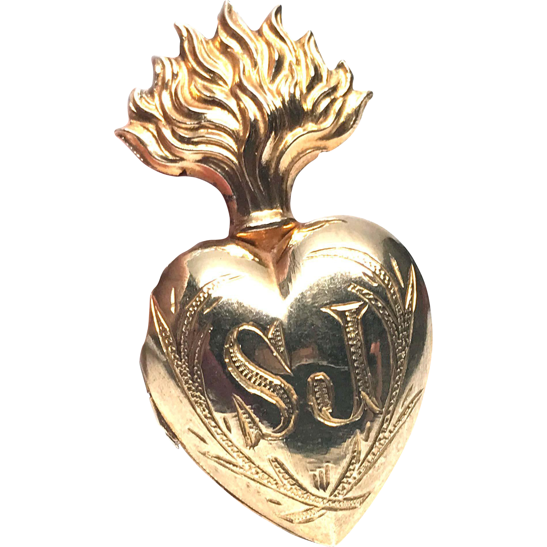 TINY Antique Nineteenth Century Gilded Brass Sacred Heart Ex Voto with Monogram SJ