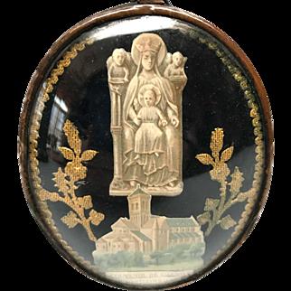 Antique Nineteenth Century Framed Souvenir Reliquary Ex Voto