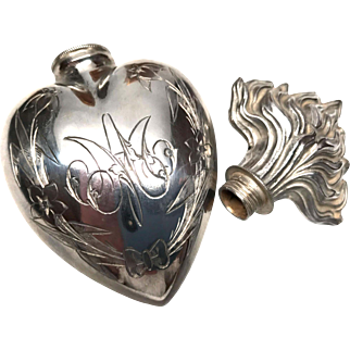 Large Antique Nineteenth Century French Silver Sacred Heart Holy Water Flacon