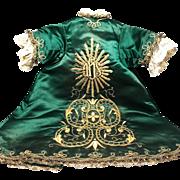 RARE Antique Nineteenth Century French Silk Giltwork Embroidery Religious Robe Enfant Jesus