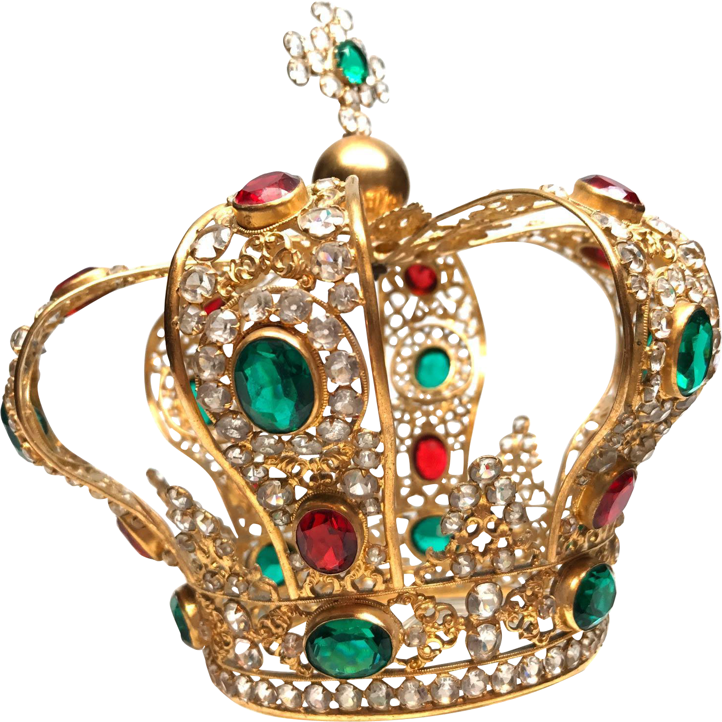 Antique Nineteenth Century Gilded Bronze French Santos Crown, Couronne Royale