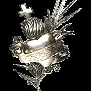 Enormous Italian Silver Ex Voto Sacred Heart with Manuscript Devotion